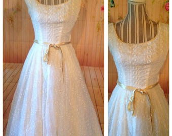 Vintage White Eyelet Dress with Yellow Accent Edges and Ribbon Belt