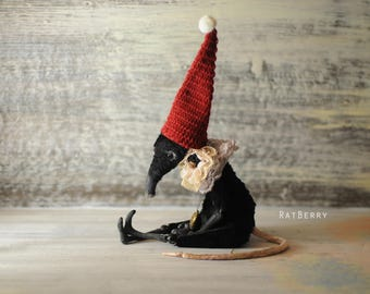 Black Mouse stuffed toy Art doll animal rat Poseable creatures Miniature handmade art toy Mouse cute in hat Felt mouse figurine Gothic plush