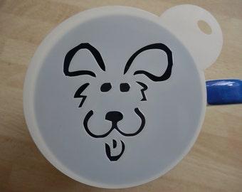 Unique bespoke new laser cut comic dog face coffee stencil