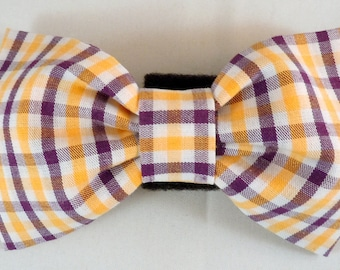 Dog Flower, Dog Bow Tie, Cat Flower, Cat Bow Tie - Purple and Yellow Plaid