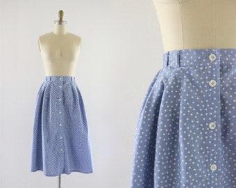 polka dot chambray midi skirt / m