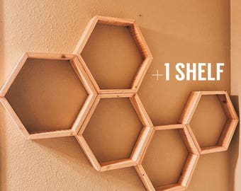 "Set of 6 Medium Hexagon/Honeycomb Shelves (Reclaimed Wood) 2"" Deep"