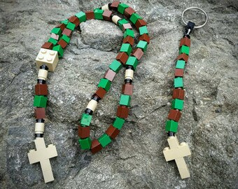 The Original Mementomoose Rosary and Chaplet Set Made with Lego Bricks - Green and Brown - First Communion Special!