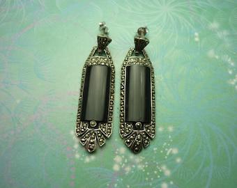 Vintage Sterling Silver Earrings - Black Onyx - 925 Hallmarked - Style 30