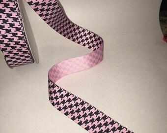 Pink/Black Herringbone Grosgrain 1.5 Inch