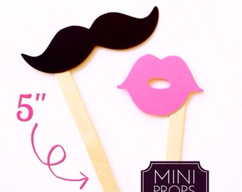 Set of 12 MINI Props - Kid Friendly Mustaches and Lips on a stick - Bubblegum Pink and Black