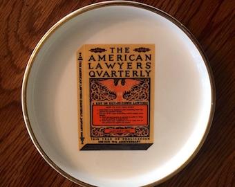 Vintage 1960's, American  Lawyers Quarterly,  ashtray, coin holder, gold rim, porcelain , 70th anniversary souvenir
