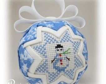 Snowman Ornament - Quilted Ornament - Winter Themed Ornament - Let It Snow / Snowman
