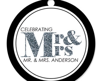 20 Mr. & Mrs. - Silver Party Tags -  Custom Craft Tags for a Wedding or Bridal Shower Party