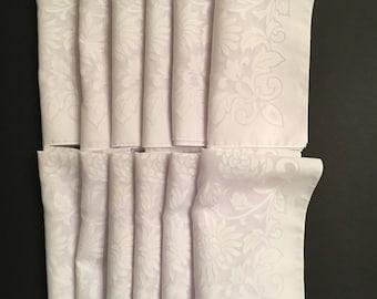 "12 Vtg Cloth Napkins - White and Sheer Floral - 17"" Square"