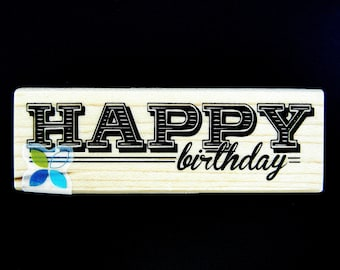 Momenta HAPPY BIRTHDAY Wood Mount Rubber Stamp