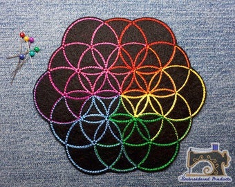 ColdPlay style symbol Flower of life - Big patch - Embroidered patch - Iron on Patch - Sew on Patch