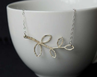 Sterling Silver Hammered Leaf Necklace, Delicate Hammered Leaf Pendant, Hammered Necklace