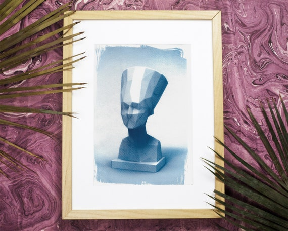 Egyptian Nefertiti Low-Poly Bust, Cyanotype Print on Watercolor Paper, A4 size (Limited Edition)