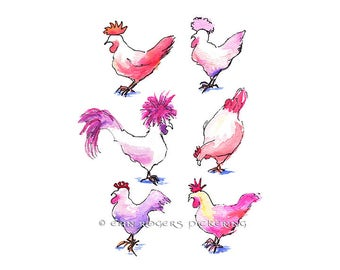 Cotton Candy Chickens 11x14 Giclee Limited Edition Prints