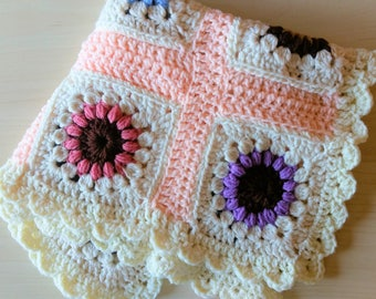 Granny Square Crochet Flower Baby Blanket, Multi-colored with pink