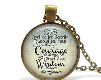 Sobriety Gift Serenity Prayer Necklace Addiction AA Recovery Gift God Grant Me Christian Gift Prayer Keychain Religious Jewelry AA Gift