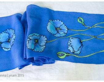 "Painted silk scarves. Blue Poppy Silk Scarf. 8x52"" crepe. Hand painted silk scarf. Silk scarf handpainted. Painted silk scarf. Silk painting"