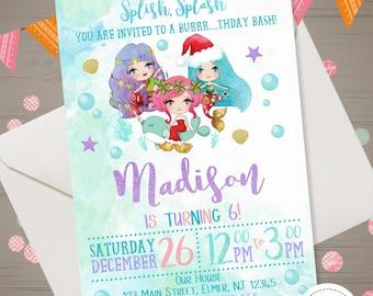 Winter Pool Party Invitation, Mermaid Pool Party Birthday Invitation, Holiday Pool Party, Christmas Mermaid Invitation, Pool Birthday Bash