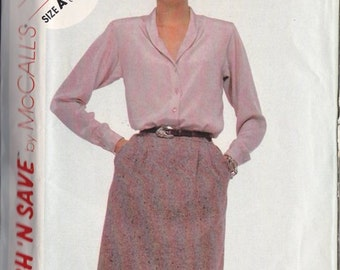 Miss Blouse & Skirt Pattern ~ Mc Call's  9194 Size A ~ Combination Sizes 10 ~ 12 ~ 14 ~ Shawl Collar  ~ Stitch N Save ~ Cut But Complete