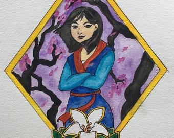 Art print of watercolor painting of Mulan