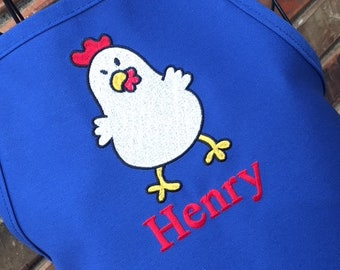 Chicken Apron, Personalized Embroidery, Apron with Name, Birthday Party Favor, Birthday Gift, Chef Apron, Kitchen Chicken Apron