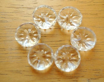 6 Buttons, Antique vintage buttons,  crystal glass buttons, clear glass, 14mm