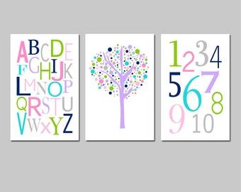 Kids Wall Art Trio - Set of Three 13x19 Nursery Prints - Modern Alphabet, Numbers, Tree Dot -  CHOOSE YOUR COLORS