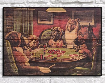 C.M Coolidge Dogs playing poker Wood wall decor Vintage poster print Gift for Father Gift for Men gift for him panel effect wood wall art
