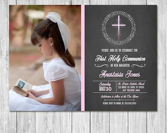 First Communion Invitation - Pink Cross Chalkboard - First Holy Communion Invite - Photo Invite - Chalkboard Invitation - 1st Communion