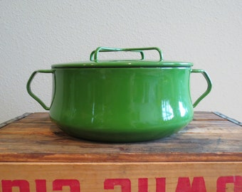 SALE - Vintage Dansk Kobenstyle Dutch Oven Apple Green Enamelware Cookware IHQ Enameled Jens Quistgaard - WAS 95