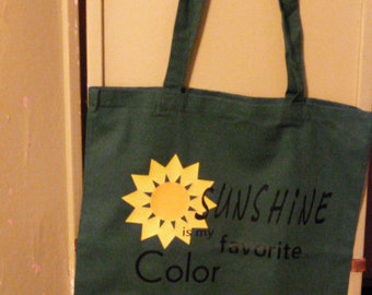 Sunshine is My Favorite Color Green Cotton Market Tote