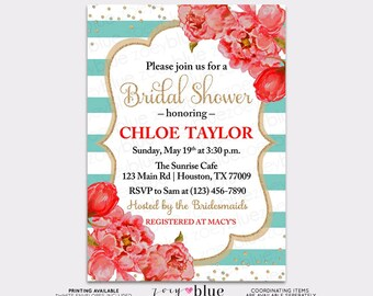 Peony bridal shower invitation floral black white pink peony bridal shower invitation floral red turquoise watercolor peonies blue bubbly brunch confetti baby filmwisefo Gallery