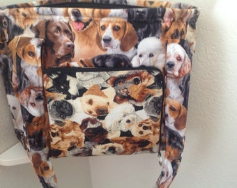 Dog motif. storage. zippers pockets, washable, concealed carry