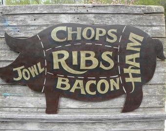 Pig Cut out shaped Butcher Shop BBQ  Sign Hand Lettered Sign,  Pork meat chart Great gift, butcher or Kitchen decor, Farmhouse Decor, Fixer