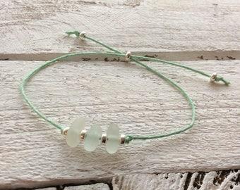 Sea Glass Bracelet, Waxed Cord Bracelet, Sterling Silver Bracelet, Adjustable Cord Bracelet, English Sea Glass, Seaham, Sea Glass Jewellery