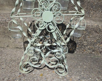 Metal Ferris Wheel Sculpture Twisted Iron Ornate Carnival Candle Holder