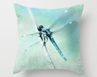 Velveteen Pillow Dragonfly Magical Blue Teal Aqua Whimsical Nature Botanical Dreamy Bokeh Nursery Decor, Retro Style Living Room Decor