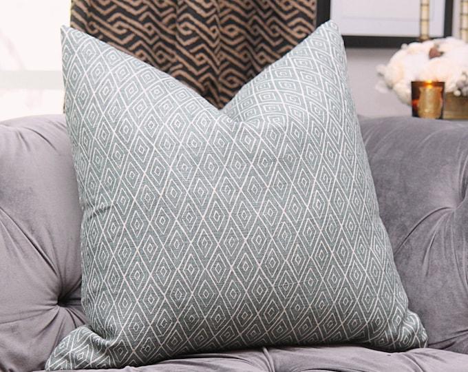 Peter Dunham Atlas in Ocean - Green Geometric Linen - Designer Green Pillow Cover - Motif Pillows - Global home decor