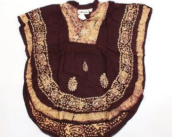 Batik Flower Poncho-Dashiki - Black/Brown