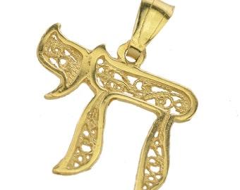 Artistic Filigree Gold Chai Pendant