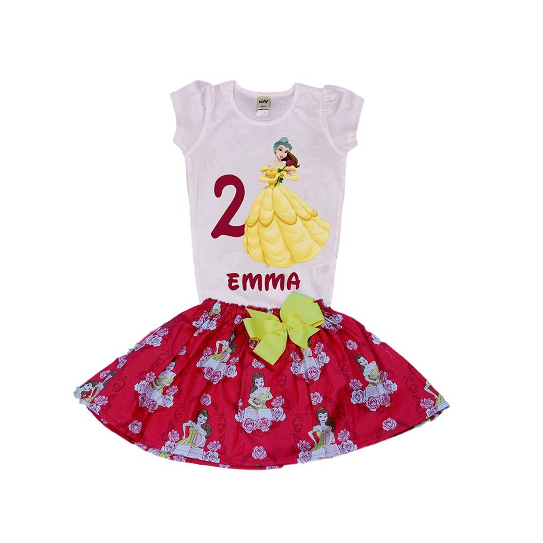 Girl skirt Belle girl birthday outfit toddler Belle
