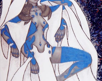 """Large giclee print - icy woman in white cloth with third eye - 16"""" x 20"""" or 11"""" x 14"""""""