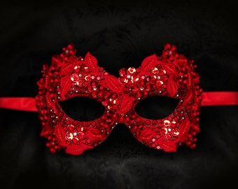 Sequined Red Masquerade Mask With Rhinestones And Embroidery - Embellished Venetian Style Eye Mask - For Prom, Costume Party, Mardi Gras