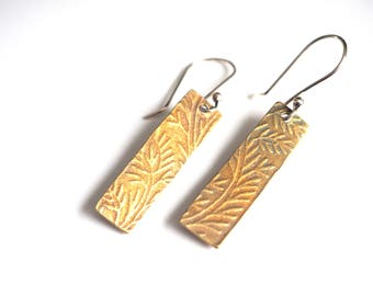 Floral textured rectangle brass earrings