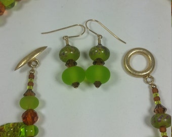 Stunning lampwork Leaf bead jewelry set