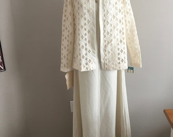 NWT Vintage 1960s Puritan Forever Young Maxi Dress Gown Jacket Mod Lace Ivory 16