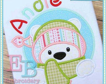 Polar Bear Peeker Applique - This design is to be used on an embroidery machine. Instant Download