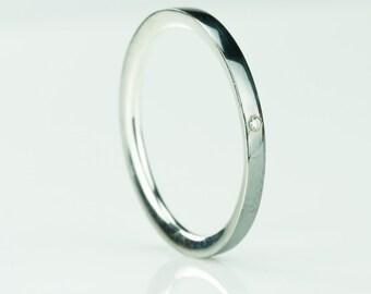 Sterling Silver Diamond ring comfort fit, Minimalist Diamond Ring, 2 mm thin Wedding Ring with 1 mm Diamond Stone, Wedding Engagement Ring