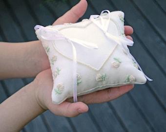 Wedding ring pillow, Milky white ring bearer pillow, Roses embroidery pillow, Ivory ring bearer pillow, Rings pillow, Ivory ring holder
